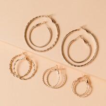5pairs Metal Hoop Earrings