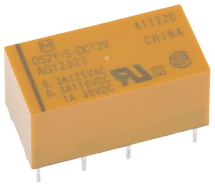 Panasonic , 12V dc Coil Non-Latching Relay DPDT, 2A Switching Current PCB Mount