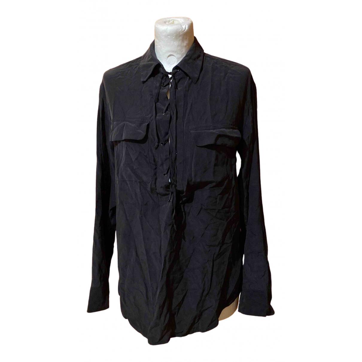 Equipment N Black Silk  top for Women XS International
