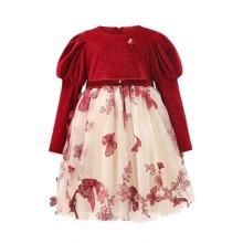 Party Kleid mit Schmetterling, Blumen Stickereien und Hammelkeuleaermeln