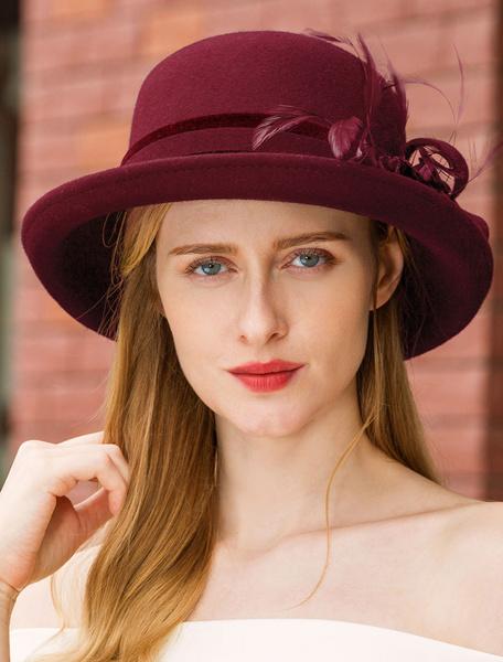 Milanoo Feather Wool Hat Vintage Headpieces Royal Women Retro Hair Accessories Halloween