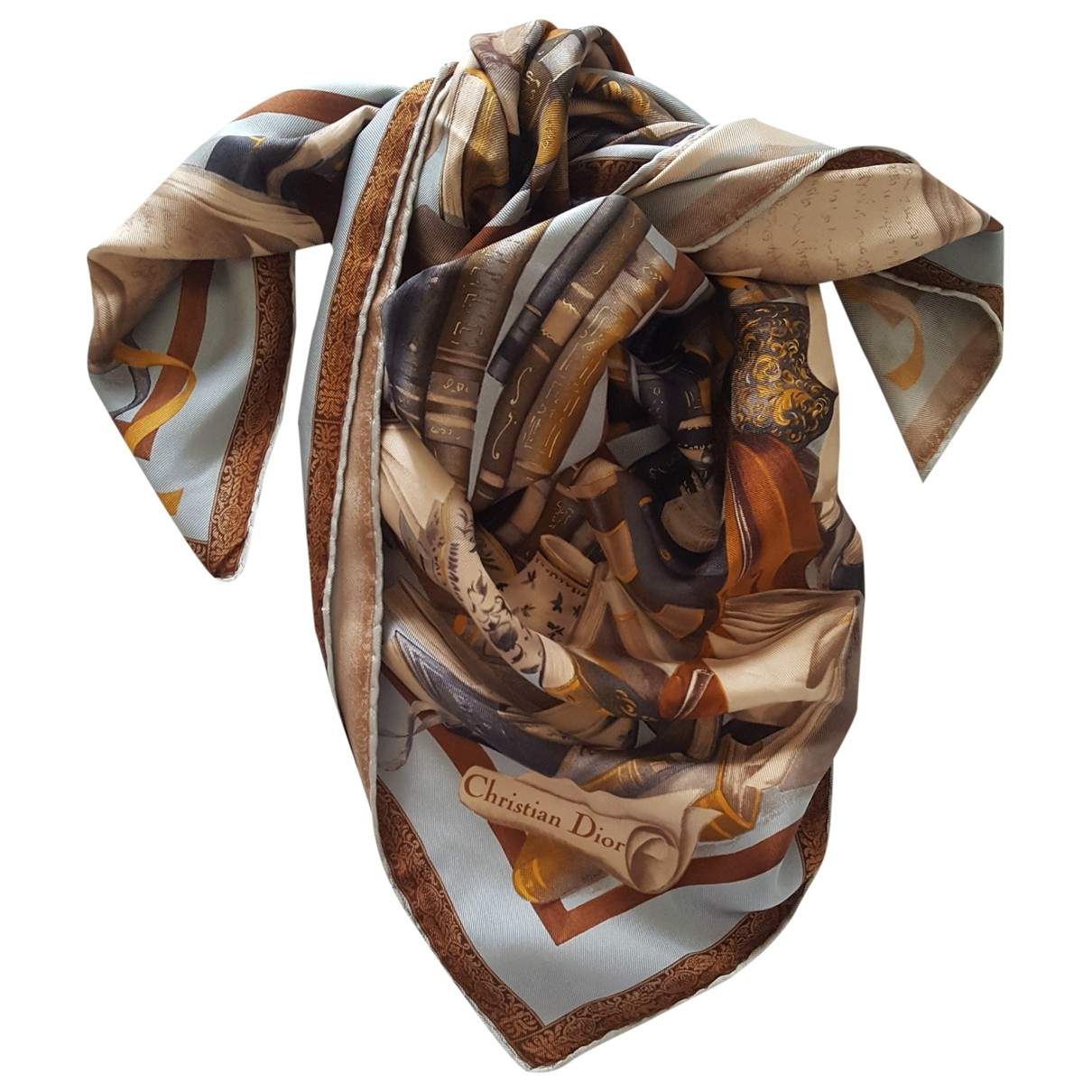 Dior \N Brown Silk scarf for Women \N