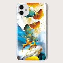 Leaf & Elk Print iPhone Case