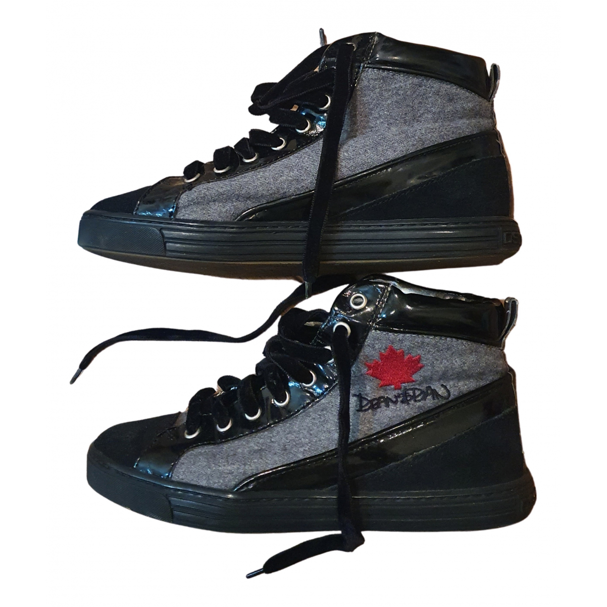 Dsquared2 N Grey Leather Trainers for Women 35.5 EU