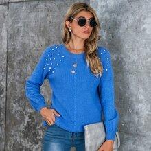 Pearls Beaded Embellished Raglan Sleeve Sweater