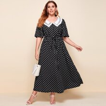 Plus Polka Dot Contrast Lace Scallop Drawstring Dress