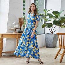 Shirt Kleid mit Blumen & Zitronen Muster und Guertel