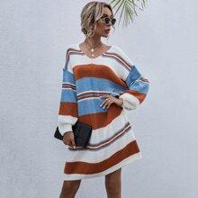 Color-block V-neck Oversized Sweater Dress