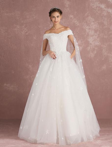 Milanoo Ball Gown Wedding Dress Off The Shoulder Bridal Dress Watteau Train White Tulle Lace Flower Applique Floor Length Bridal Gown