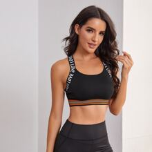 Striped And Letter Graphic Sports Bra