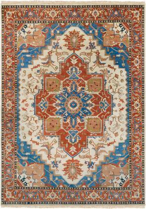 Zeus ZEU-8002 8' x 11' Rectangle Traditional Rugs in Burnt Orange  Sky Blue