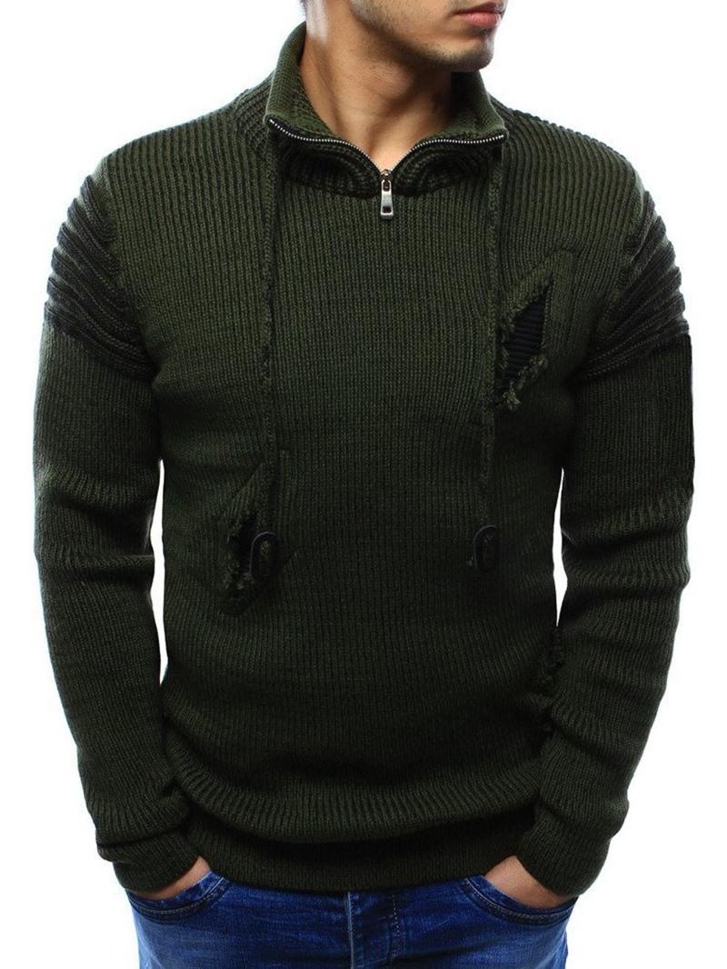 Ericdress Standard Color Block Hole Winter European Sweater
