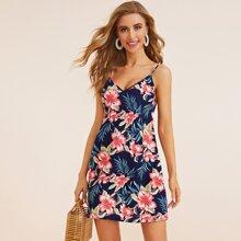 Double V-neck Tropical Cami Dress