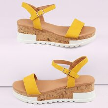 Open Toe Ankle Strap Flatform Lug Sole Sandals