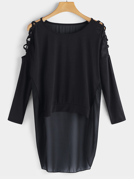 Yoins Black Cut Out Cold Shoulder Long Lace Up Details Sleeves Top