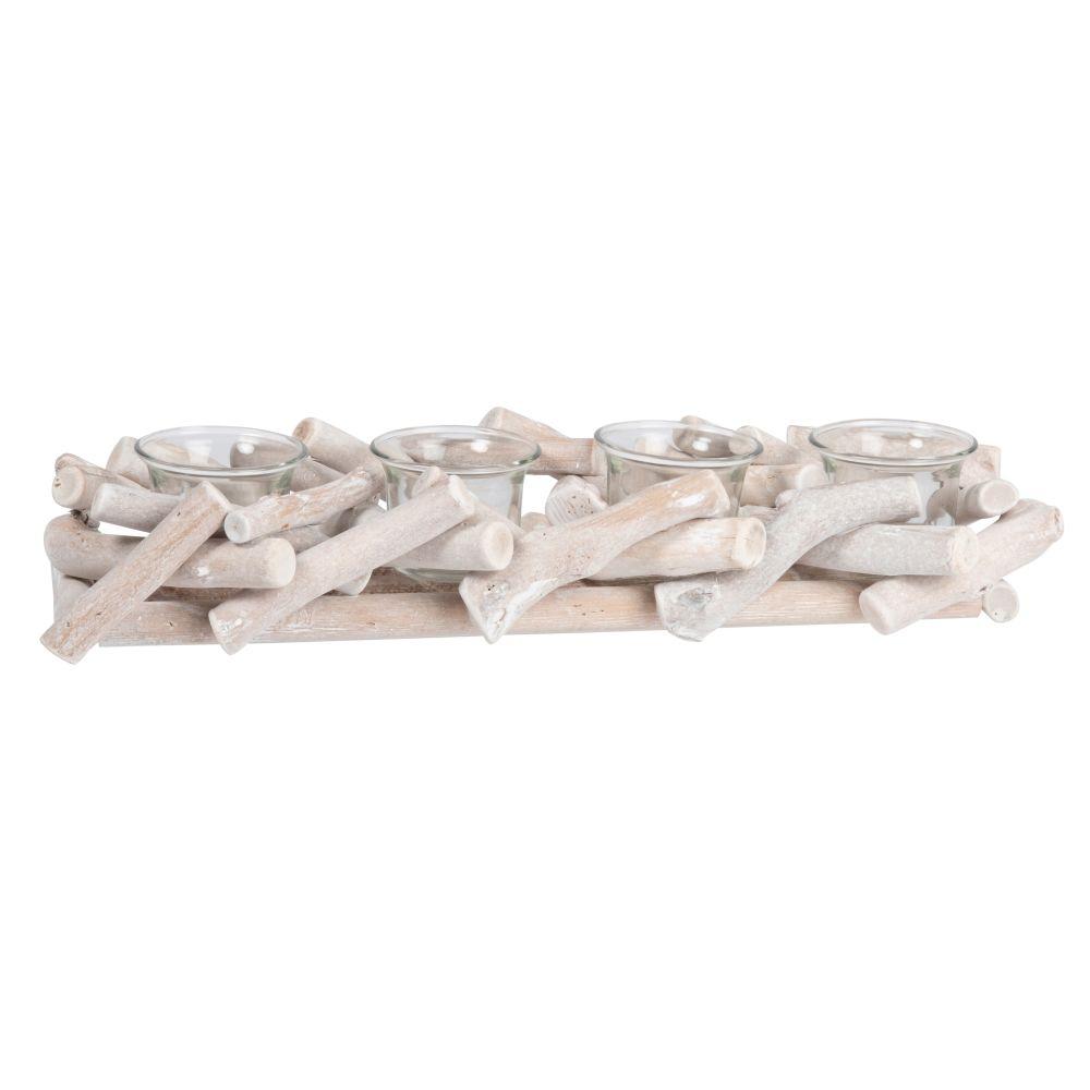 Laempchen aus Glas (x4) mit Halterung aus Eichenholz