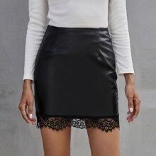Eyelash Lace Hem PU Leather Skirt