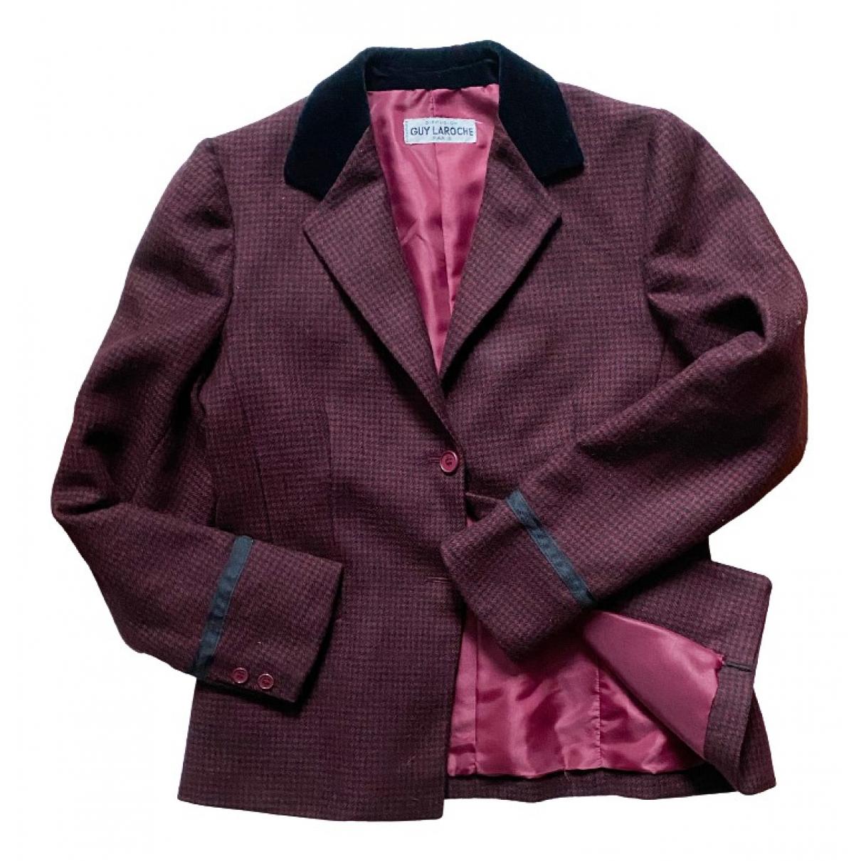 Guy Laroche - Veste   pour femme en laine - bordeaux