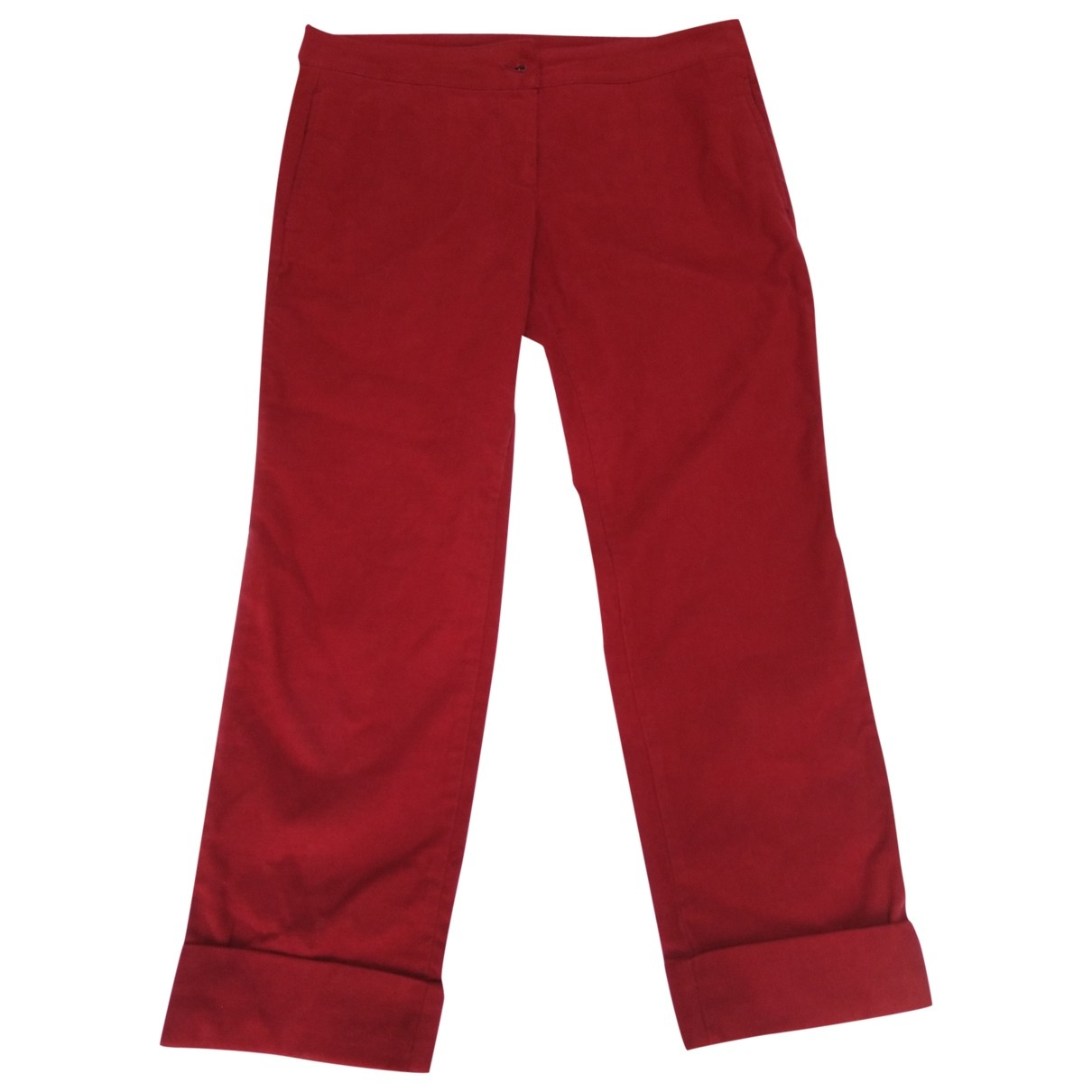 Alexander Mcqueen \N Red Cotton Trousers for Women 46 FR