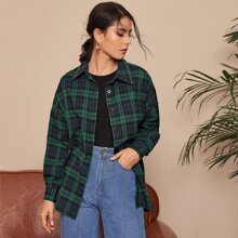 Collared Single Breasted Tartan Blouse