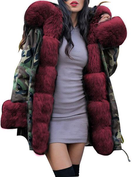 Milanoo Abrigos acolchados Cremallera con capucha Mangas largas Camuflaje Abrigo de invierno casual Ropa de abrigo