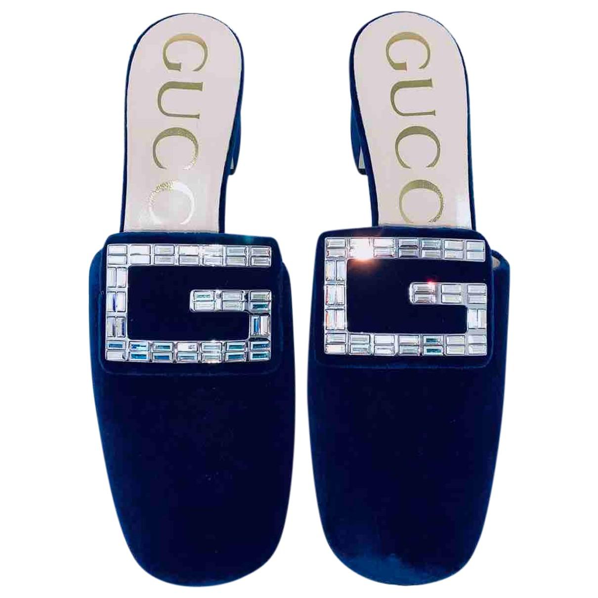 Gucci - Sandales   pour femme en velours - marine