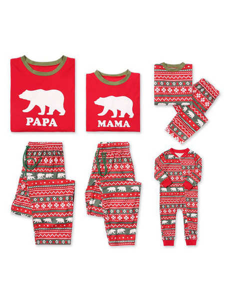 Milanoo Christmas Family Matching Pajamas Father Red Printed Top And Pants 2 Piece Set For Men