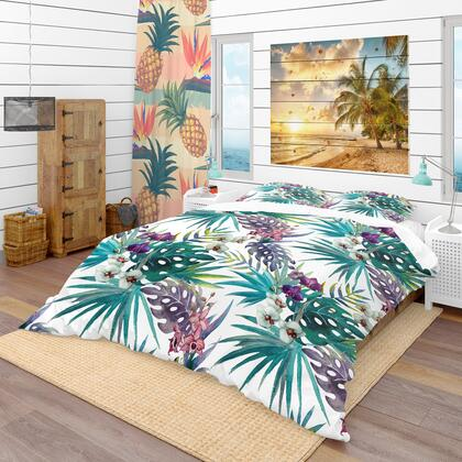 BED18903-Q Designart 'Pattern Orchid Hibiscus Leaves Watercolor Tropics' Tropical Duvet Cover