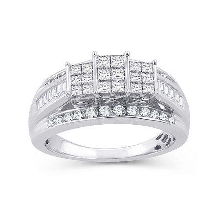 Womens 1 CT. T.W. Genuine White Diamond 10K White Gold Rectangular Engagement Ring, 7 , No Color Family