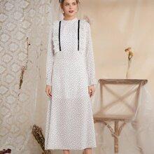 Polka Dot Ruffle Trim Tunic Dress