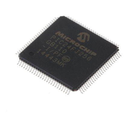 Microchip PIC24FJ256GB110-I/PF, 16bit PIC Microcontroller, PIC24FJ, 32MHz, 256 kB Flash, 100-Pin TQFP