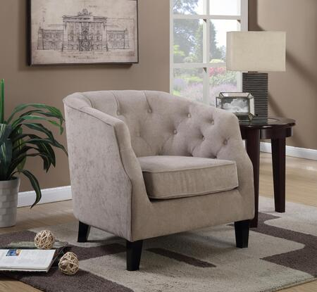 Harper Collection 8763 Accent Chair with Polyester Upholstery  Button Tufting  Piped Stitching  Removeable Seat Cushion  Tapered Legs and Solid Wood