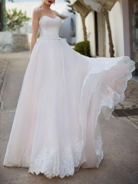 Milanoo Vestido de novia Cuello cariño Sin mangas Hasta el suelo Encaje Vestidos de novia con tren