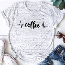 T-Shirt mit Buchstaben Grafik und Space Dye