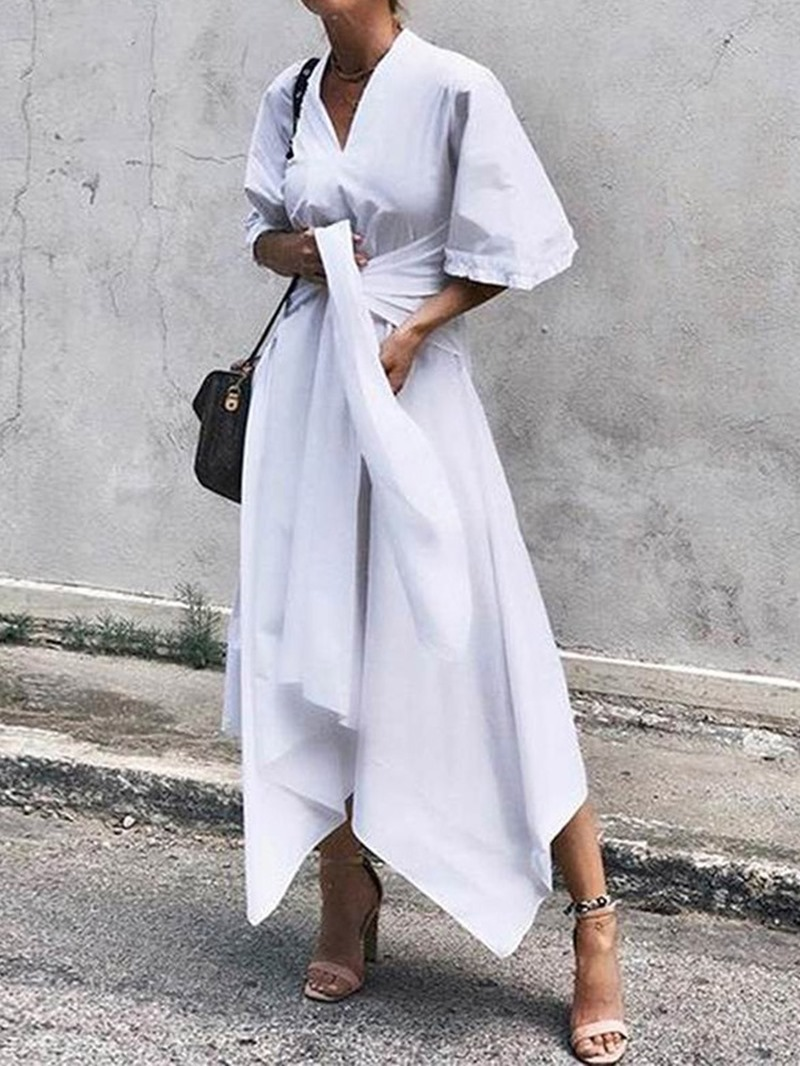 Ericdress V-Neck Asymmetric Ankle-Length Summer Date Night Dress