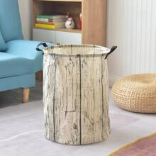 Wood Grain Foldable Laundry Basket