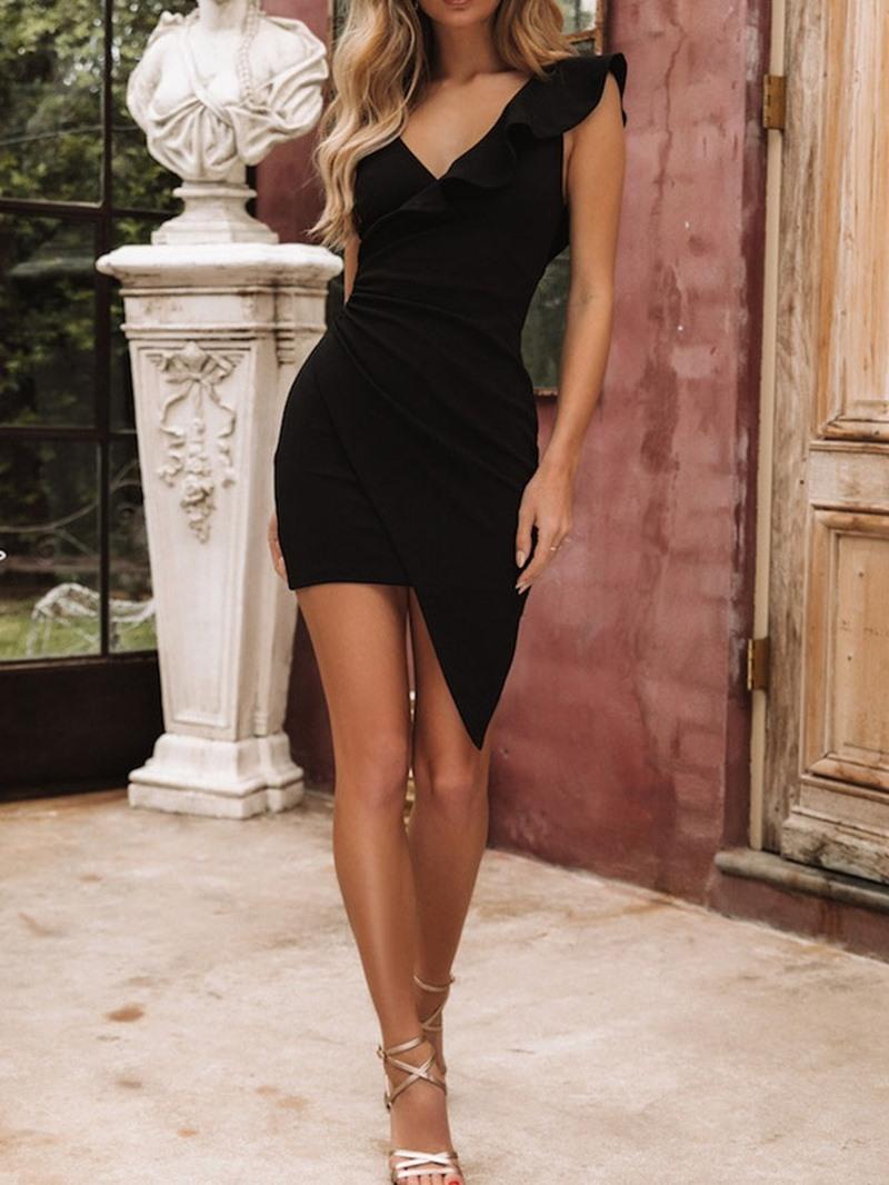 Ericdress V-Neck Backless Above Knee Asymmetrical Regular Dress