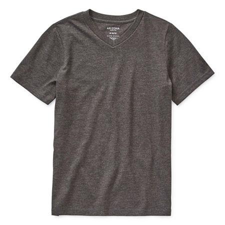 Arizona Little & Big Boys Short Sleeve T-Shirt, X-large (18-20) , Gray