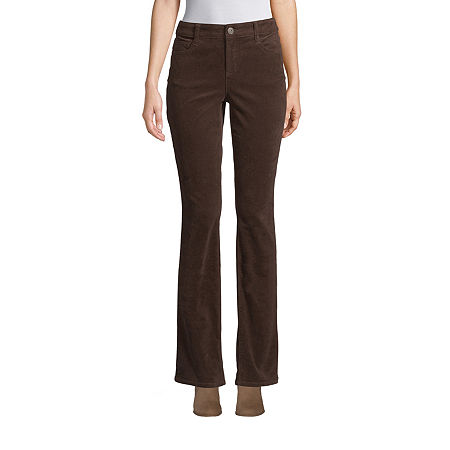 St. John's Bay Womens Mid Rise Belly Bootcut Corduroy Pant, 16 , Brown