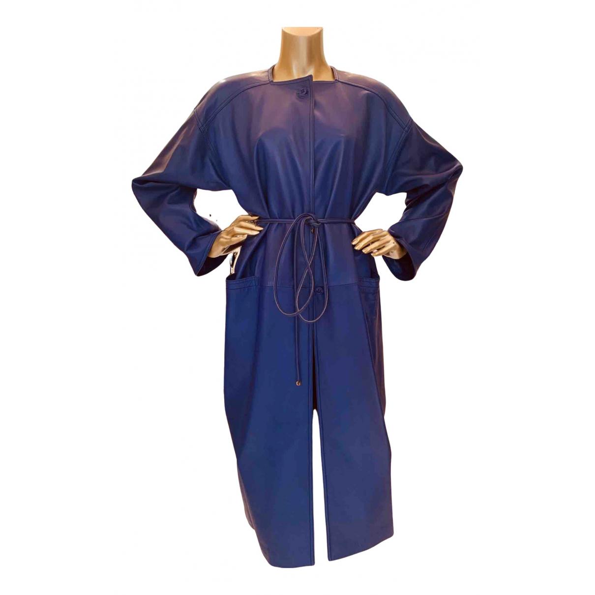 Loewe N Blue Leather coat for Women 12 UK