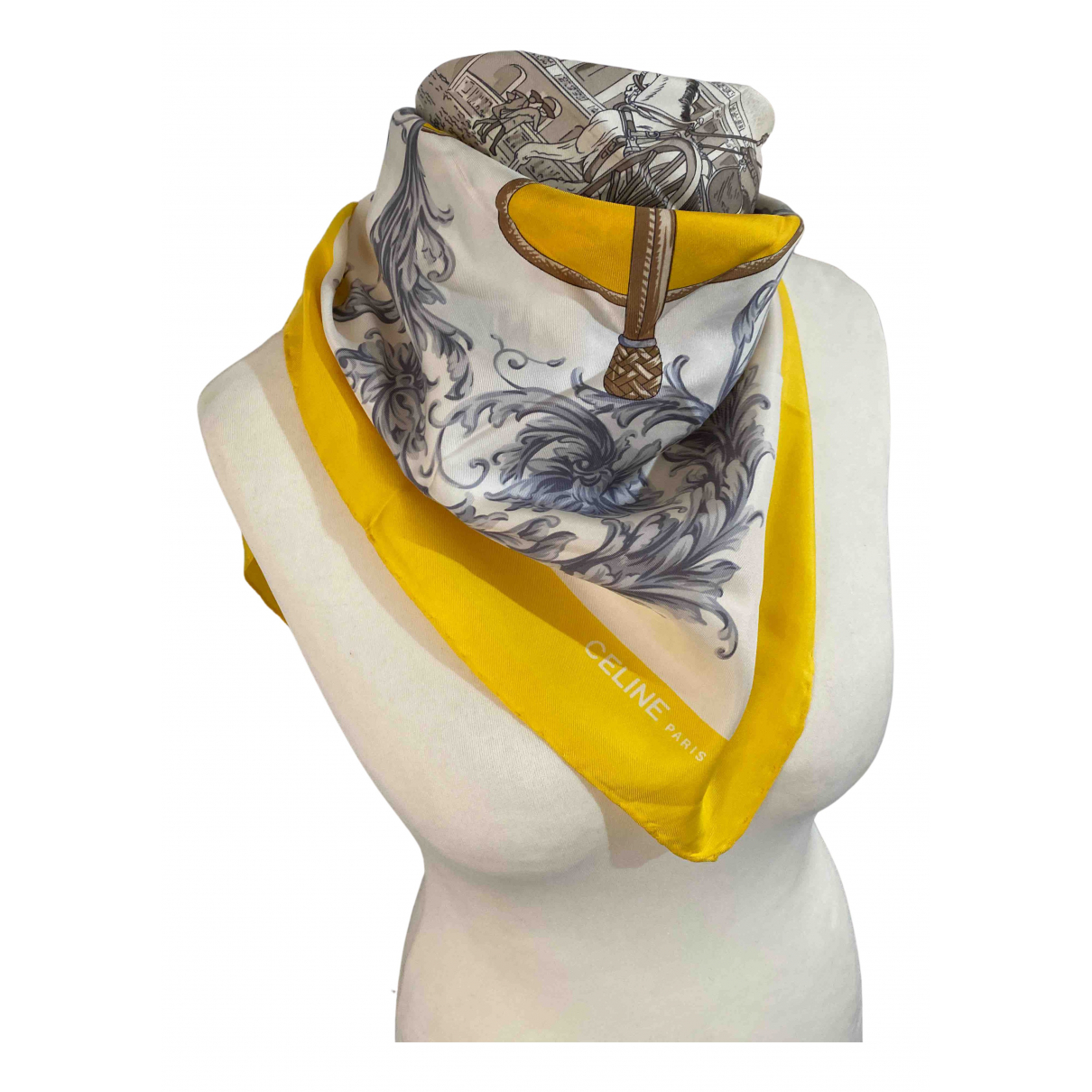 Celine N Yellow Silk scarf for Women N