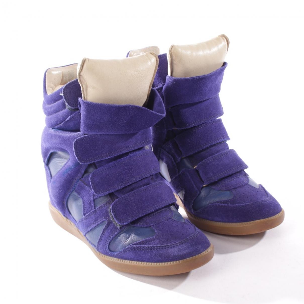 Isabel Marant Bayley Sneakers in  Blau Veloursleder