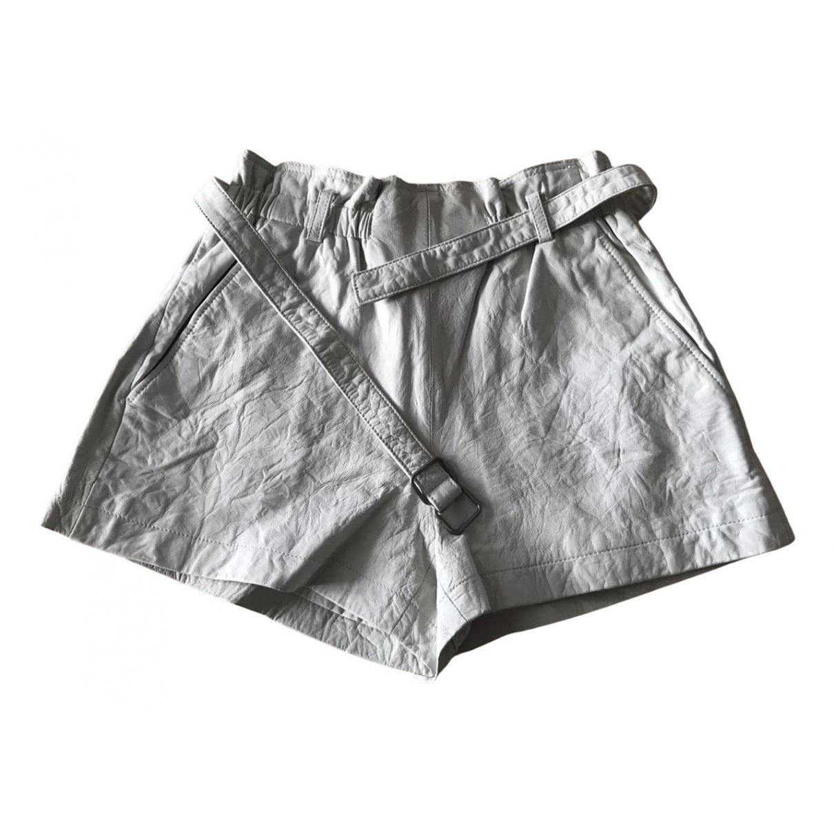 Theory N Grey Leather Shorts for Women 6 US