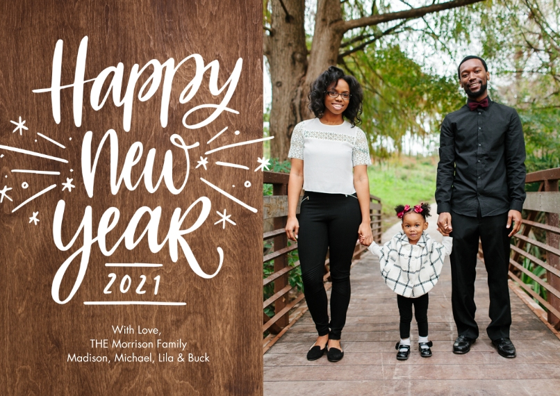 New Years Photo Cards 5x7 Cards, Premium Cardstock 120lb with Scalloped Corners, Card & Stationery -2021 New Year Sparkling by Tumbalina