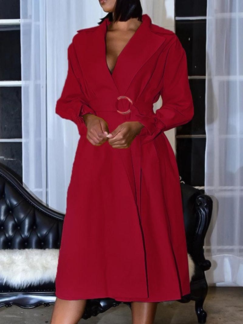 Ericdress Long Sleeve Mid-Calf Notched Lapel High Waist Pullover Dress