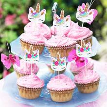24pcs Cartoon Unicorn Cake Topper