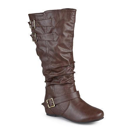 Journee Collection Womens Tiffany Wide Calf Slouch Riding Boots, 9 1/2 Medium, Brown