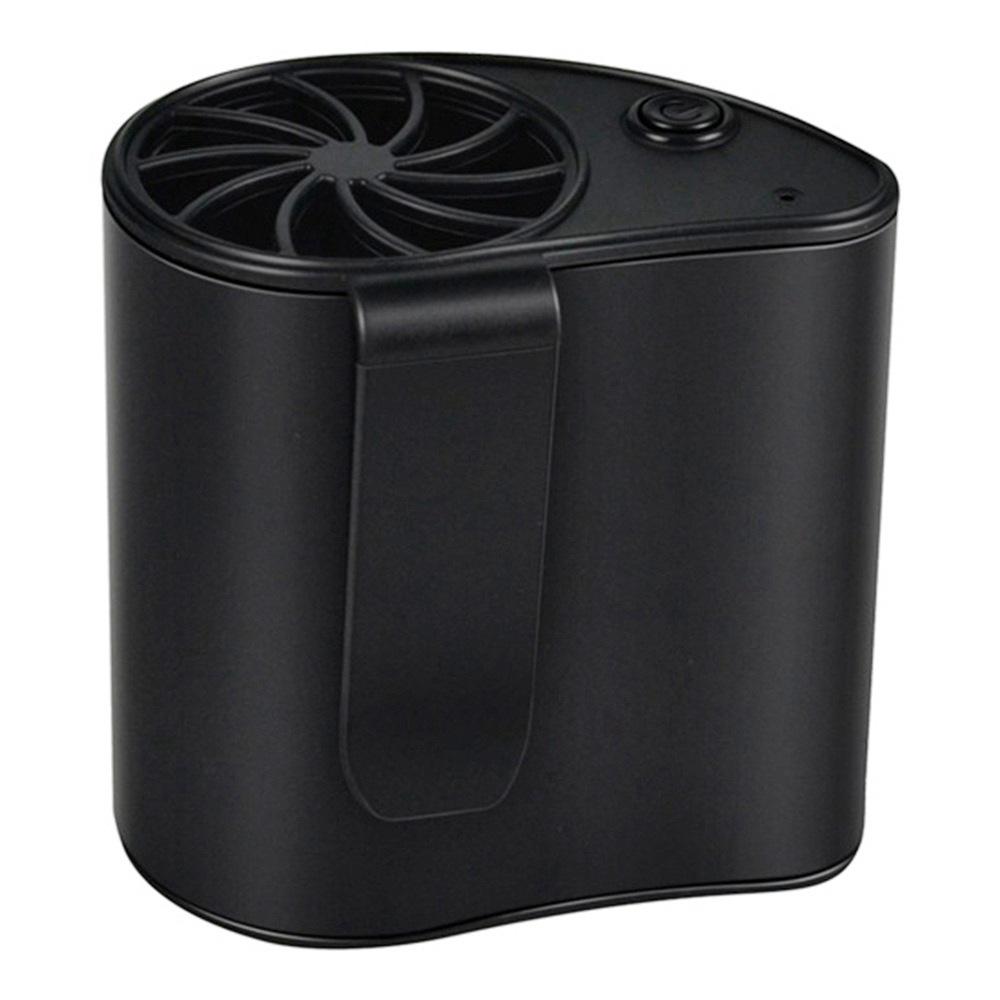 Portable Hanging Waist Fan USB Charging 1200mAh Battery Mobile Cooling Summer - Black