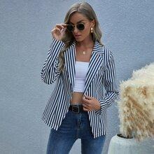 Vertical Striped Single Button Blazer