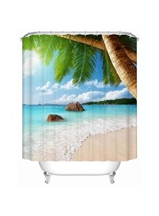 3D Coconut Leaves and Beach Printed Polyester Light Blue Shower Curtain
